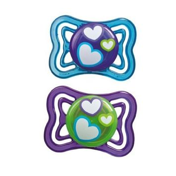 Munchkin 2 Pack Silicone Pacifier, Hearts - Purple & Blue