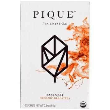 Pique Tea, Earl Grey, Organic Black Tea, 14 Sachets, 0.3 oz (8.4 g) [Flavor : Earl Grey]