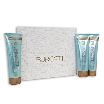BURGATI Shampoo, Conditioner and Leave- in Conditioner Professional Hair Care Gift Set - 3 Step Professional Salon Style System - Ideal for All Hair Types