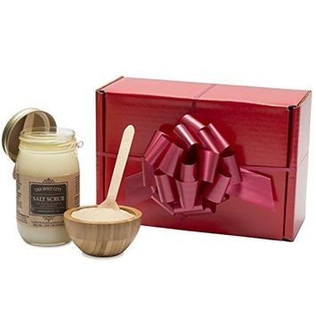 Gift Box Set - Holy City Skin Products Revitalizing Dead Sea Salt Hand and Body Scrub Gift Set with Wooden Bowl - Almond and Honey, 16 fl oz [Honey Almond]