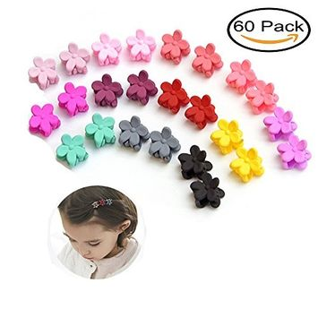 Mydio 60PCS Multicolor Hair Bangs Mini Flower Hair Claw Clip,Hair Accessories Clips for Little Girl,Teens Kids And Toddlers Children,Mixed Color