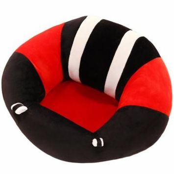 Movieanimeperipheralfilling Plushtoys Portable Size Comfortable Newborn Baby Infant Baby Dining Lunch Chair Seat Safety Cotton Plush Legs Feeding Chair Black