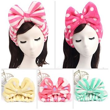 Le Fu Li 5 Pcs Women Fashion Lovely Soft Carol Fleece Bowknot Bow Makeup Cosmetic Shower Elastic Hair Band Hairlace Headband