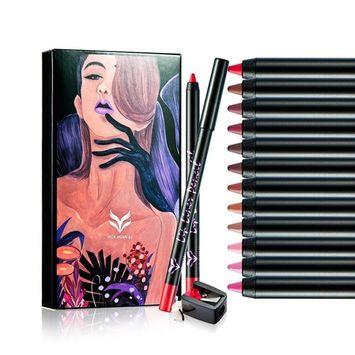 Waterproof Lip Liner Pencil Set with Sharpener Matte Lip Liner Stick Long Lasting Lip Liner Pen