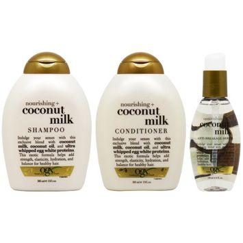 Ogx Nourishing Coconut Shampoo + Conditioner + Serum 'Set' (Pack of 3)