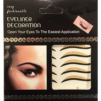 4 Pairs of Beauty Makeup Art Waterproof Curver Half Circle Shape Eye Liners Decoration Self Adhesive Tape Application Enhancer Contour Stylish Sticker Fashion Party-Black/nude AOSTEK(TM)