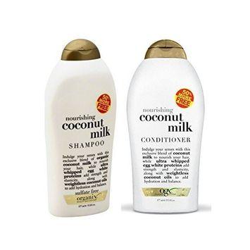Organix Ever Nourishing Coconut Milk 19.5 Fl Ounces Each (Shampoo and Conditioner Set) by OGX