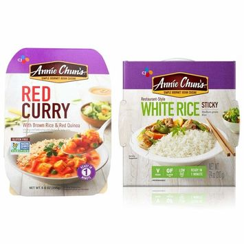 Red Curry and Sticky White Rice Microwave Food - Annie Chuns ready meals a Pack of Red curry and 1 pack of white rice