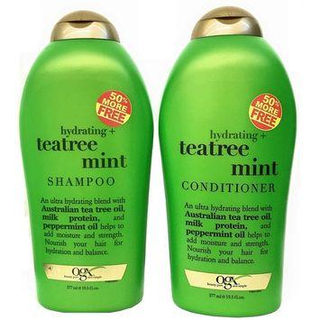 Organix (OGX) Tea Tree Mint Hydrating Shampoo + Conditioner, 19.5 oz Large DUO