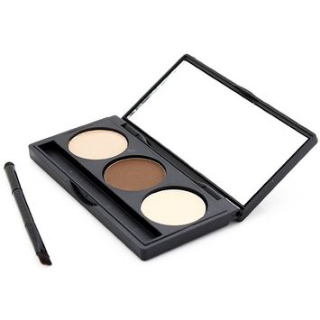 3 Colors Eyebrow Powder Eye Brow Palette Cosmetic Makeup Kit With Brush Mirror