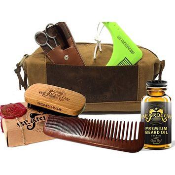 Ultimate Men's Beard Grooming Set With Boar Bristle Brush, Comb, Mustache Comb, Conditioner & Premium Toiletry Bag & BONUS Beard Trimming Scissors –All-Inclusive Facial Hair Gift Bundle