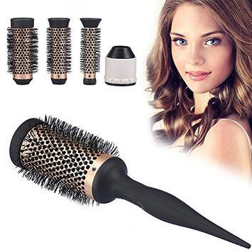 Round Hair Brush, Curly Hair Comb Stylish Hairbrushes Beauty Salon Hairdressing Ceramic Ionic Round Curly Hair Comb Dressing Brush with 3pcs Replaceable Heads