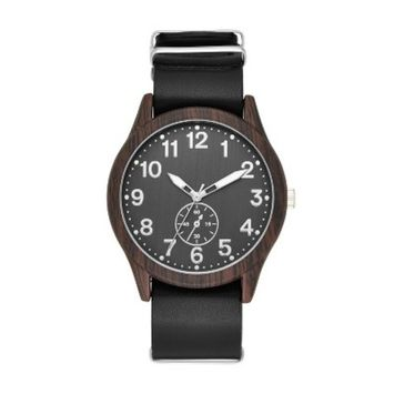 Men's Wood Finish Field Strap Watch - Goodfellow & Co™ Black