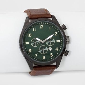 Men's Strap Watch with Contrast Dial - Goodfellow & Co™ Brown