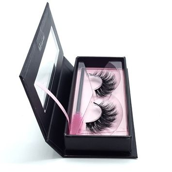 Obeya 1 Pair 3D Real Mink Fur Fake Eyelashes Messy Cross Reusable False Eye lashes 3D Mink Hair For Make Up (EL-Mink-D008)