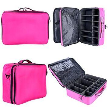 YaeKoo Professional Makeup Cosmetic Case Beauty Artist Storage Waterproof Tools Brushes Box Bag Holder Organizer with Shoulder Strap