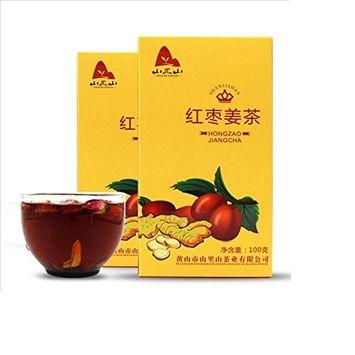 HEKUNDA Red Dates Ginger Tea 100g, Herbal Tea with Goji Rose Brown Sugar 10 Bags (Pack of 2)