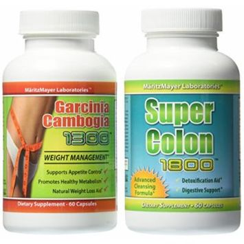 Garcinia Cambogia Extract 1000mg. & Super Colon 1800 Weight Loss Detox Cleanse