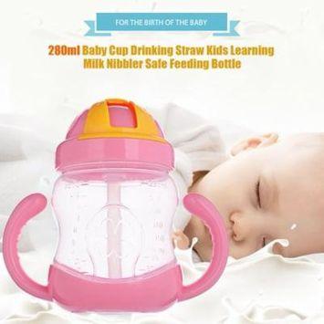 280Ml Baby Cup Drinking Straw Kids Learning Milk Nibbler Safe Feeding Bottle Pink