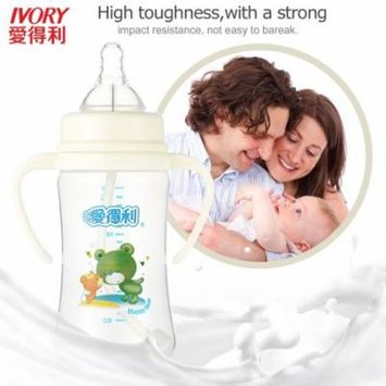 IVORY Baby Feeding Bottle With Straw/Handle Wide Neck PP Big Bottles 240ml-A83