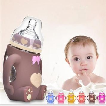 Stylish Picks for The Littlest Ones Wide Mouth Glass Milk Bottle With Handle & Protective Silicone Cover 242ml