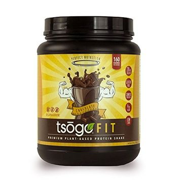 Tsogo Fit Protein Powder w/ 20 Grams of Plant Based Protein/Serving, Rich Chocolate Flavor, Soy, Gluten and Dairy Free, High Fiber, Low Carb, 160 Calories/Serving (1 Tub, 20 Servings, 29.6oz | 840g)