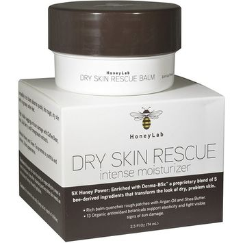 Honeylab Dry Skin Moisturizer Balm with Manuka Honey, Shea Butter, Argan Oil, Acai, Goji Berry. Moisturizing cream for face and body helps with uneven skin tone, fine lines, and wrinkles. 2.5oz