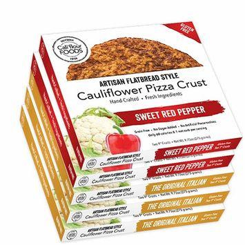 Cali'flour Foods Gluten Free, Low Carb Cauliflower Pizza Crusts - 6 Original Italian crusts and 4 Sweet Red Pepper - 5 Boxes - (10 Total Crusts, 2 Per Box)