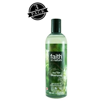 Faith in Nature Shampoo, Tea Tree (400 ml Bottle, 3-Pack); All-Natural Hydrating Hair Care for Normal to Oily Hair w/Tea Tree Leaf and Pure Citrus Essential Oils