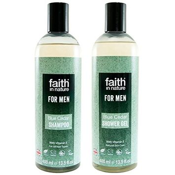 Faith In Nature For Men Blue Cedar Shampoo 400ml and Body Wash 400ml Duo | Vegan | No Cruelty | 99% Natural Fragrance | No From SLS or Parabens [Blue Cedar]