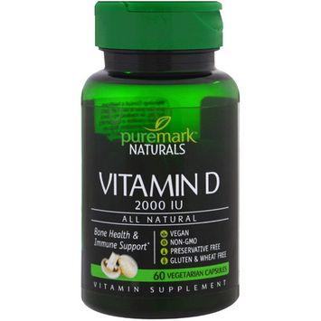 PureMark Naturals, Vitamin D, 2000 IU, 60 Vegetarian Capsules
