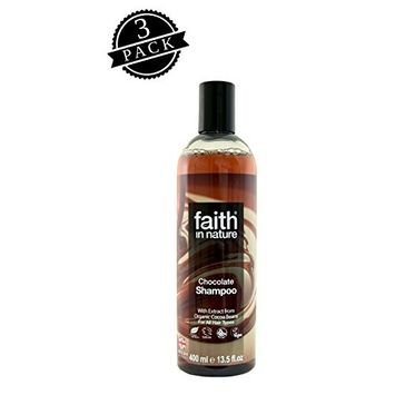 Faith in Nature Shampoo, Chocolate (400 ml Bottle, 3-Pack); All-Natural Hydrating Hair Care for Dry, Oily and Normal Hair w/Organic Cocoa Bean Extract and Essential Oils