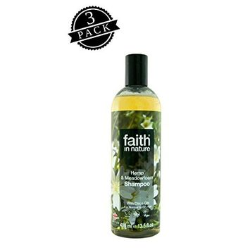 Faith in Nature Shampoo, Hemp & Meadowfoam (400 ml Bottle, 3-Pack); All-Natural Hydrating Hair Care for Dry to Normal Hair w/Ginger and Pure Essential Oils
