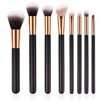 8 Pieces Makeup Brush Set, Iuhan 8 Pieces Makeup Brush Professional Face Eyeliner Blush Contour Foundation Cosmetic Brushes for Powder Liquid Cream with Premium Wooden Handles
