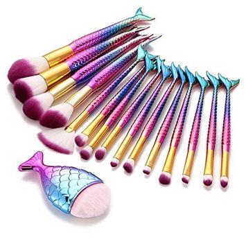 Makeup Brushes, Iuhan 16PCS Make Up Foundation Eyebrow Eyeliner Blush Cosmetic Concealer Brushes