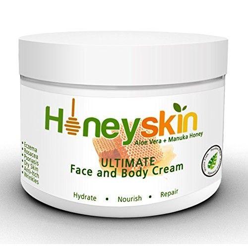 Honeyskin Organics Aloe Vera + Manuka Honey Face and Body Cream for Rosacea, Eczema, Psoriasis, Rashes, Itchiness, Redness with raw Superfoods, 4 oz. [4oz]