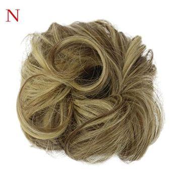 Women's Wavy Curly orFranterd Messy Bun Hair Twirl Hairpiece Scrunchie Wigs Extensions Hairdressing