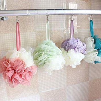 Bath Loofahs Sponge Shower Pouf Body Scrubber Ball Mesh Pouf Bath Sponge 4 Pack