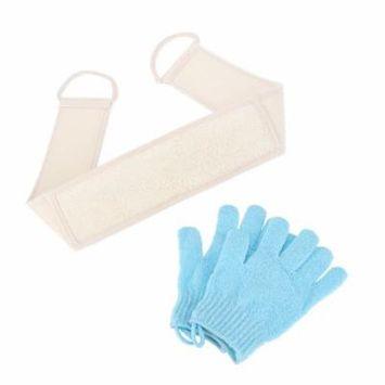 Loofah Back Strap Exfoliating Bath Shower Scrubber Body Massage Sponge + Light Blue Bath Gloves - 85*45*10cm