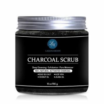 Activated Charcoal Scrub,Natural Body Scrub and Facial Scrub for Deep Cleansing, Exfoliation, Pore Minimizer 10oz,Improve The Texture, Tone & Appearance Of Your Skin
