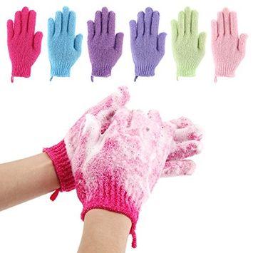 Codream 6 Pair Bath Exfoliating Gloves Nylon Shower Gloves, Bath Scrubber, Body Spa Massage Dead Skin Cell Remover Valentine's Gifts for Women Men