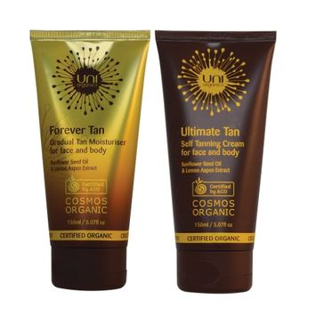 Uniorganics Certified Organic Self-Tanning Lotion Set. Anti-Aging Self Tan Lotion for Face & Body with Gradual Buildable Self Tan Daily Cream. Medium to Dark by Uni Organics (Pack of 2)