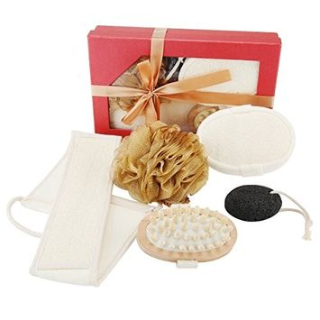Codream All Natural Back Scrubber and Shower Glove, Hemp Shower Exfoliating Body Scrubber Gift Set, Free Loofah Sponge Pad, Feet Pumice Stone, Mesh Pouf Naturally Exfoliate Your Skin from Head to Toe