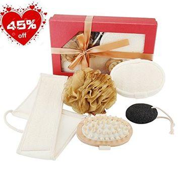 5 in 1 Loofah Back Scrubber Exfoliating Bath Sponge,Essential Spa Gift Set Natural Loofah Bath Sponge Pad + Pumice Stone Body Massage Brush