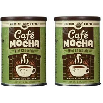 Fireside Coffee Cafe Mocha Instant Flavored Coffee 8 Ounce Canister - Chocolate Mint (Pack of 2)