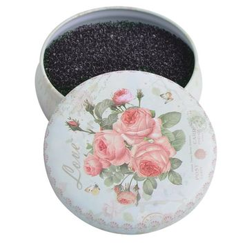 Color Switch, Makeup Brush Cleaner, Shaking Off Eyeshadow Power Colors on Sponge in White Round Rose Case