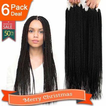 6 Packs/Lot Box Braids Crochet Braids Mambo Twist Braiding Hair Synthetic Kanekalon Jumpo Box Braids Brading Hair Extensions 24 Roots/Pack (24
