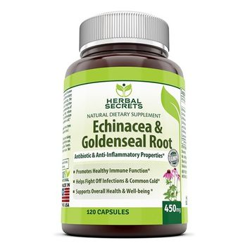 Herbal Secrets Echinacea & Goldenseal Root 450 Mg 120 Capsules -Supports Immune and Respiratory Response Supports Mucous Membranes Supports Immune Functions During Times of Seasonal Stress Maintains a Healthy Inflammatory Response to Seasonal Stressors