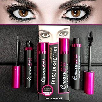 Mascara, Hometom Waterproof Makeup Eyelash Long Curling Mascara + Eyeliner (Black)
