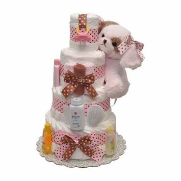 Wiggles Lullaby Baby Girl Diaper Cake 4 Tiers